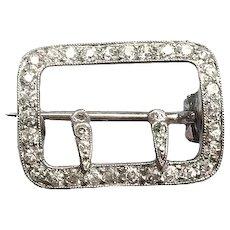 Petite Diamond Buckle Choker Pin .66ct t.w. Milgrain Vintage Platinum 18K White Gold Brooch Slide