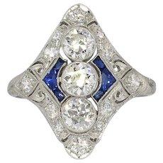 Vintage Diamond Sapphire Ring Art Deco 1930's Old European Cut Diamond Blue Sapphire Filigree Cocktail Birthstone Anniversary Ring Platinum