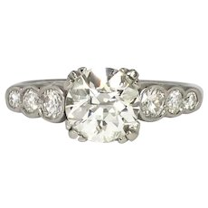Art Deco Engagement Ring Circa 1930's 1.84ct t.w. Old European Cut Diamond Anniversary Unique Vintage Antique Wedding Ring Platinum
