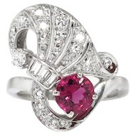 Vintage Retro 1940's 1.30ct t.w. Pink Tourmaline & Diamond Cocktail Anniversary Ring Platinum