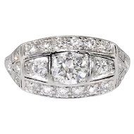Vintage Art Deco 1930's 1.31ctw Old European Cut Diamond Engagement Anniversary Ring Platinum
