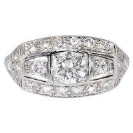 Vintage Art Deco 1930's 1.31ctw Old European Cut Diamond Engagement Anniversary Ring Platinum