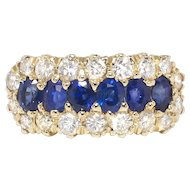 Vintage Retro 1940's 1.84ct t.w. Sapphire & Diamond Ring Cocktail Anniversary Ring 14k