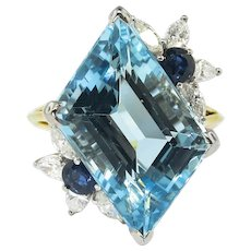 Vintage Aquamarine Diamond Ring Circa 1980's Blue Sapphire Birthstone Cocktail Ring 18k Gold