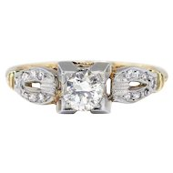 Art Deco .41ct t.w. 1930's Old European Cut Diamond Engagement Ring Two Tone 14k