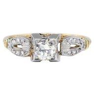 Art Deco .41ct t.w. 1930's Old European Cut Diamond Engagement Ring Two Tone 14k