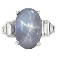 Art Deco 1930's Vintage 14.82ct t.w. Lavender Blue-Gray Star Sapphire Platinum Diamond Ring