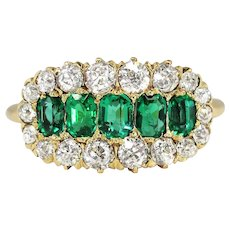 Edwardian 1920's 1.15ct t.w. Old European Cut Diamond & Emerald Engagement Anniversary Ring 14k Yellow Gold