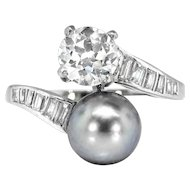 Vintage Art Deco 1930's 1.39ct t.w. Old European Cut & Grey Pearl Bypass Toi Et Moi Engagement Crossover Ring Platinum