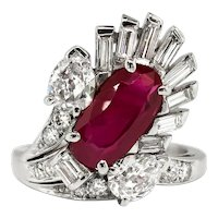 Vintage Ruby Diamond Ring Circa 1950's 3.43ct t.w. Ruby Diamond Cocktail Anniversary Birthstone Ring Platinum