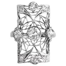 Art Deco Old European Cut Diamond Lacey Filigree Statement Ring 14k White Gold