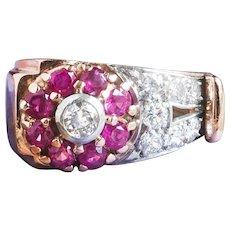 Vintage 1940's Retro Ruby Diamond Floral Motif Cocktail Birthstone Ring 14k Rose Gold Platinum