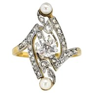Antique Art Nouveau 1900's .85ct t.w. Old European Cut Diamond Pearl Navette Cocktail Engagement Ring 18k Gold Platinum