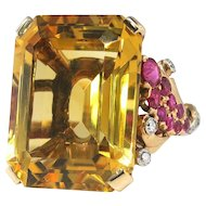 Vintage Retro Estate 1940's Citrine Ruby Diamond Cocktail Birthstone Statement Ring 14k Rose Gold Platinum