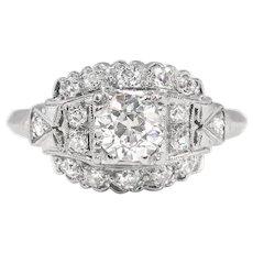 Art Deco Vintage 1930's Old European Cut Diamond Engagement Wedding Anniversary Ring Platinum