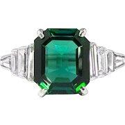 Estate Verdelite Brazilian Green Tourmaline Baguette Diamond Cocktail Birthstone Engagement Anniversary Ring Platinum