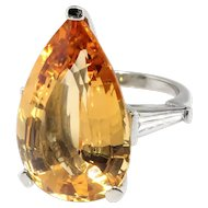Vintage Topaz Diamond Ring Huge Natural Tangerine Peach Topaz Statement Cocktail Birthstone 3 Stone Ring Platinum