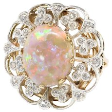 Vintage Opal Diamond Ring Circa 1940's 5.40ct t.w. Re-Worked Old European Single Cut Diamond Engagement Anniversary Birthstone Gold Ring