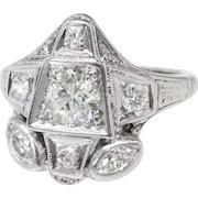 Art Deco Diamond Ring 1930's .80ct t.w. Vintage Old European Marquise Cut Diamond Unique Engagement Anniversary Ring 14k White Gold