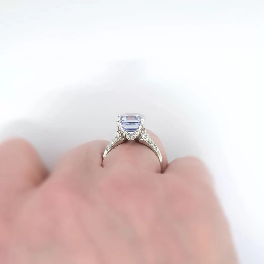 Vintage Emerald Cut Natural Periwinkle Blue Sapphire Diamond ...