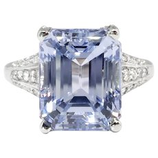 Vintage Emerald Cut Natural Periwinkle Blue Sapphire Diamond Platinum Engagement Anniversary Birthstone Ring