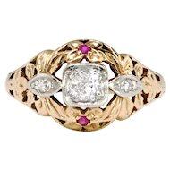Art Deco Engagement Ring Circa 1930's Vintage Old European Cut Lab Ruby Engagement Wedding Unique Ring 14k Rose Gold