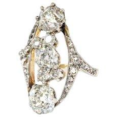 Antique Edwardian Diamond Ring Circa 1920's Unique Old European Cut Diamond Engagement Anniversary Ring 14k Gold Platinum