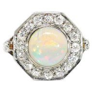 Vintage Art Deco Opal Old European Cut Diamond Halo Ring Circa 1930's 18k Yellow Gold Platinum Ring