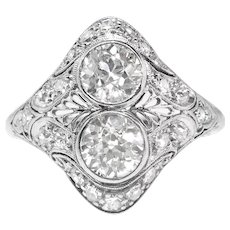 Antique Toi Et Moi Ring Circa 1920's Edwardian Old European Cut Diamond Filigree Platinum Engagement Anniversary Cocktail Ring