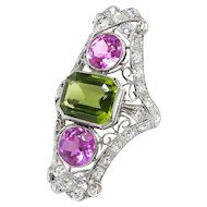 Huge Vintage 1920's 7.21ct t.w. Art Deco Pink Topaz Peridot Diamond Navette Cocktail Birthstone Ring Platinum