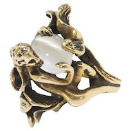 Vintage Fairy Pixie Cat's Eye Moonstone Circa 1980's Devil Figural Forest Ring 14k Plumb Yellow Gold