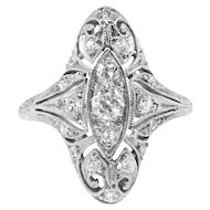 Art Deco Diamond Ring Vintage Unique 1930's Old European Cut Filigree Navette Anniversary Cocktail Ring Platinum