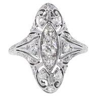 Art Deco Diamond Ring Vintage Unique 1930's Old European Cut Filigree Navette Anniversary Cocktail Ring Platinum
