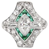 Art Deco Diamond Engagement Ring 1.70ct t.w. Green Lab Emerald Halo Marquise Round Baguette Diamonds Platinum