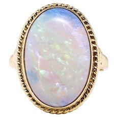 Vintage Natural 4.50ct Opal Solitaire Ring Circa 1980's in Rope Edge Bezel 14k Yellow Gold