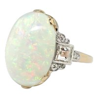Vintage Opal Diamond Ring Circa 1970's Australian Crystal Opal Step Cut Diamond Cocktail Birthstone Ring 14k Gold Palladium