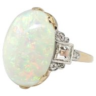 Vintage Opal Diamond Ring Circa 1970's Australian Crystal Opal Asscher Cut Diamond Cocktail Birthstone Ring 14k Gold Palladium