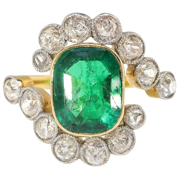Antique Emerald Diamond Ring Circa 1900 S 2 87ct T W Natural Old Cut Byp Halo