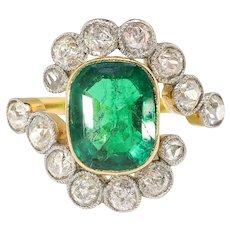 Antique Emerald Diamond Ring Circa 1900's 2.87ct t.w. Natural Emerald Old Cut Diamond Bypass Halo Ring 18k Platinum