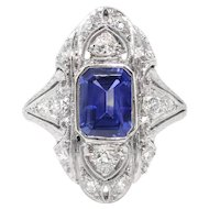 Vintage Sapphire Diamond Ring 2.10ct t.w. Circa 1930's Art Deco Navette Filigree Wedding Birthstone Engagement Ring Platinum
