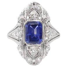 Vintage Sapphire Diamond Ring 2.10ct t.w. Circa 1930's Art Deco Navette Filigree Wedding Birthstone Engagement Ring Platinum