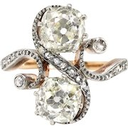 Antique 1890's Victorian 2.27ct t.w. Old Mine Cut Rose Cut Bypass Toi Et Moi Engagement Ring 18k Rose Gold Platinum