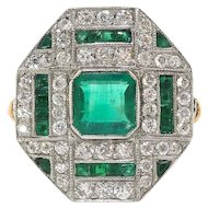 Art Deco Natural Emerald and Diamond Cocktail or Birthstone Ring 1.47ctw. 18k Platinum