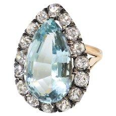 Vintage Aquamarine Diamond Ring 8.65ct t.w. Old European Cut Halo Engagement Anniversary Unique Ring 18k Rose Gold Platinum