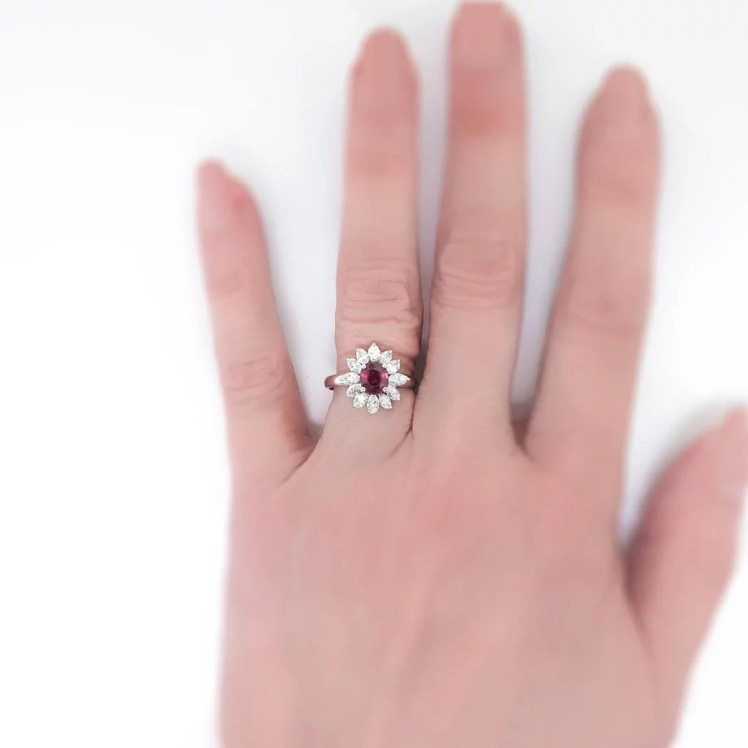 Romantic Vintage Estate Ruby and Marquise Diamond Halo Ring 18k ...