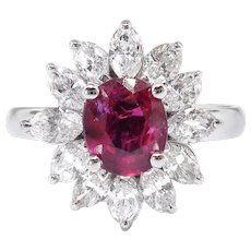 Romantic Vintage Estate Ruby and Marquise Diamond Halo Ring 18k
