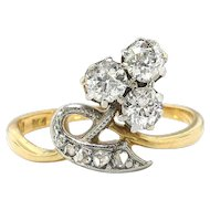 Antique Diamond Clover Ring Circa 1900's .26ct t.w. Old Mine Cut Diamond Ring 18k Platinum