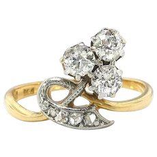 Antique Diamond Clover Ring Circa 1900's .26ct t.w. Old Mine Cut Diamond Ring 18k Platinum