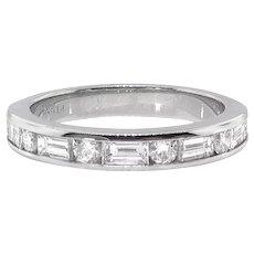 Estate .86ct t.w. Baguette Round Diamond Channel Set Estate Anniversary Wedding Band Ring Platinum