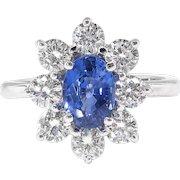 Estate Sapphire Diamond Ring Circa 1990's Blue Sapphire Diamond Halo Cocktail Birthstone Anniversary Engagement Ring 18k White Gold